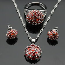 Round Red Garnet 925 Silver Jewellery Sets Necklace, Rings, Earrings Ring Size R