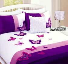 White Purple Pink 3D Butterfly 3pc KING QUILT DOONA COVER SET 280T Faux Silk