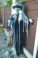 6FT Halloween Animated hanging Prop Large Talking / Screaming GREEN Witch