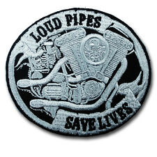 Loud Pipes Save Lives Patch Iron On Vest Harley Biker Chopper Rider Aufnäher