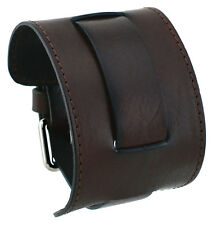 Nemesis STW-BB Dark Brown Wide Leather Cuff Wrist Watch Band