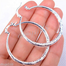 Women's Gracious 925 Sterling Silver large Round Circle Hoop Earrings H0904