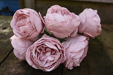 36 x LIGHT VINTAGE PINK COLOURFAST FOAM PEONY ROSES 9cm  WEDDING BRIDAL FLOWERS