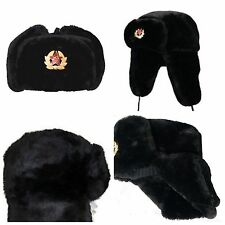 RUSSIAN TRAPPER HAT WITH SOVIET  BADGE FAUX FUR USHANKA COSSACK FLAPS BLACK