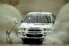 Juha KANKKUNEN RALLY DRIVER SIGNED AUTOGRAPH 12x8 Ford Escort Photo AFTAL COA