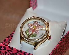 NEW Betsey Johnson Crystal Rhinstone Flower Motif Gold Tone White Watch