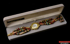Vtg Lucoral Mother Of Pearl Face Gold Toned Multi Gemstone Watch/Earrings In Box