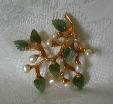 SWOBODA FLOWER SPRAY PIN ~ GEM STONES ~ JADE, FRESH WATER PEARL ~ WOW!