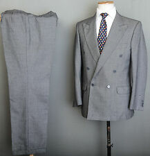 DOUBLE BREASTED  JAEGER SUIT 40R 32W 32L GREY BIRDSEYE CHECK WOOL
