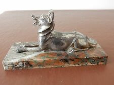 ART DECO ERA  SPELTER ALSATIAN ON ATTRACTIVE MARBLE BASE  GERMAN SHEPHERD