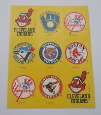 Vtg Baseball Logo Sticker Sheet~MBL~MLB~Cleveland Indians~Tigers~Yankees~Orioles