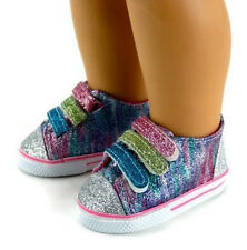"""Rainbow Glitter Tennis Shoes Sneakers made for 18"""" American Girl Doll Clothes"""