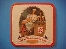 Beer Coaster Mat ~*~ BUD - BUDWEIS - BUDWEISER ~ Lady with Tap Handles & Pilsner