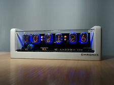 6xIN-12 NIXIE TUBES CLOCK white case & blue LED backlight & alarm vintage retro