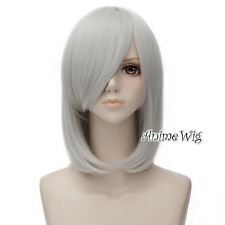 Lolita Silver Gray Medium 45CM Wavy Fashion Party Women Cosplay Wig + Wig Cap