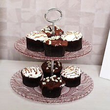 2 Tier Pink Vintage Glass Chrome Cupcake Muffin Wedding Party Cake Plate Stand