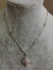 "ESTATE JEWELRY LADIES VINTAGE DIAMOND NECKLACE CHAIN 18"" LONG"