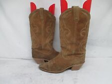 Acme Tan Suede Leather Cowboy Western Boots Size 8 M USA