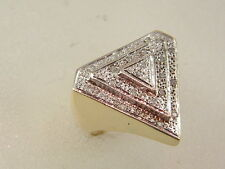 10K LARGE DIAMOND RING - 10 KARAT GOLD HIP HOP PYRAMID DIAMOND TRIANGLE TOP RING