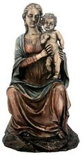 "Sale! 8"" Virgin Mary with Infant Jesus Bronze Color Statue Figurine Gift 7627"