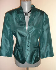 VIntage insp Steampunk Victoriana GREEN taffeta Evening JACKET top 16 UK Alexon