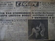 CYCLISME PARIS BRUXELLES STEENBERGEN BOBET BOXE CHAPRON LIBEER L'EQUIPE 1956