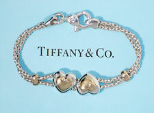 Tiffany & Co 18K Gold Sterling Silver Double Hearts on Rope 7.5 Inch Bracelet