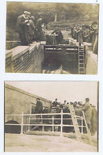 WREXHAM Opening of Canal Sluice Gates - 2x Vintage Photographs c1920