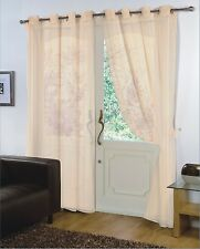 PAIR - VOILE NET PANELS EYELET / RING TOP 59'' X 90'' CURTAINS - CREAM