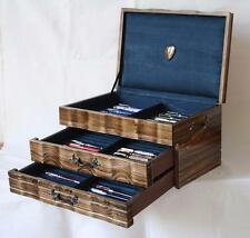 FOUNTAIN PEN CHEST, #555, VINTAGE, HAND-CRAFTED, HOLDS 62 PENS, SOLID WOOD, USA