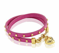 NEW Juicy Couture Bracelet Studded Leather Wrap Heart Charm