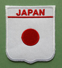NATIONAL FLAG COUNTRY SHIELD SEW ON / IRON ON EMBROIDERED PATCH:- JAPAN