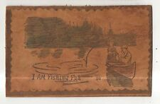 I Am FISHING For ___ Vintage Couple inCanoe LEATHER Postcard