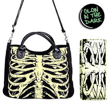 Glow In The Dark Skeleton Ribcage Gothic Shoulder Bag Handbag & Wallet Set Black
