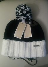 NWT Michael Kors  Women's Pom Pom Cable Knit Hat Black/White one size