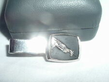 VINTAGE ELECTRIC HAND SAW SILVER AND BLACK ENAMEL TIE CLASP IN GIFT BOX