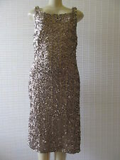 LAUNDRY BY SHELLI SEGAL BEIGE SEQUIN COCTAIL SLEEVELESS DRESS SIZE 10 - NWT