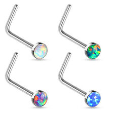 4pcs Synthetic Opal Gem L-Bend Shaped Nose Rings Wholesale Body Jewelry