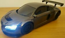 LARGE AUDI R8 LMS Radio Remote Control Car FAST SPEED - LED LIGHTS - GREY 25CM