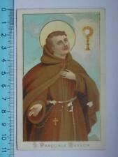 Vecchio santino SAN PASQUALE BAYLON Frati Minori Alcantarini Spagna