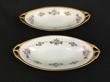 UNO Favorite Hutschenreuther Art Deco Nouveau Pink Floral TWO Oval Relish Dishes