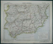 1883 ~ España & Portugal Letts mapa del sur de Granada Cordoba Málaga Gibraltar
