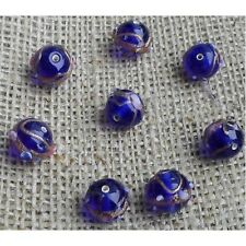 10 HANDMADE INDIAN LAMPWORK GLASS BEADS ~ 12mm Venetian Blue Round  ~ 35
