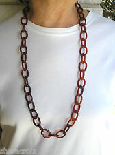"Vintage 35"" Red Amber / Tortoise Shell Color Plastic Celluloid Chain Necklace"