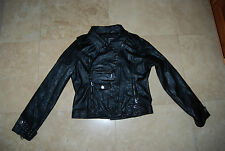 Black Faux Leather PAPER DENIM & CLOTH Lined Motorcyle Jacket w/Studs Large