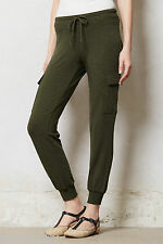 NEW Anthropologie Jersey Cargo Joggers By Bordeaux, Moss, Sz XS 5 Star Reviews!