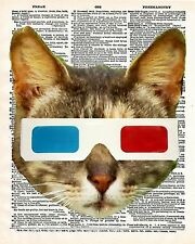 Cat 3D Glasses Art Print 8 x 10 - Dictionary Page - Kitten - Kawaii - Pop Art