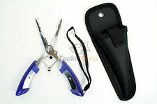 """6.5"""" Stainless Fishing Pliers Scissors Hook Remover Line Cutter Sheath Lanyard"""