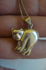 "Vtg gift~lovely cute sterling silver cat kity pendant 16"" necklace~Free Ship~BIN"