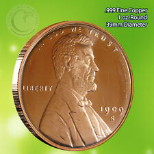 1909-S VDB Lincoln Wheat Penny 1 oz .999 Copper Round (not a penny)